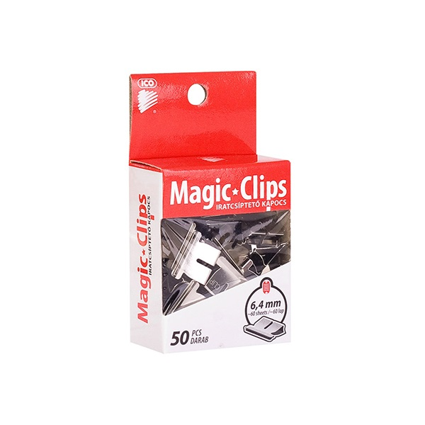 Iratcsíptető kapocs ICO Magic Clips 6,4mm 50 db/csomag